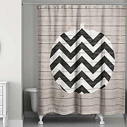 Chevron Pumpkin Shower Curtain in Black/White