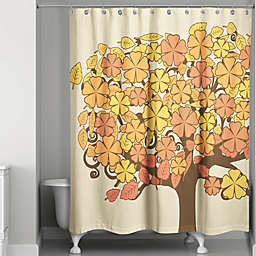 Autumn Flower Tree Shower Curtain in Orange/Yellow