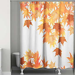 Watercolor Autumn Leaf Collage Shower Curtain