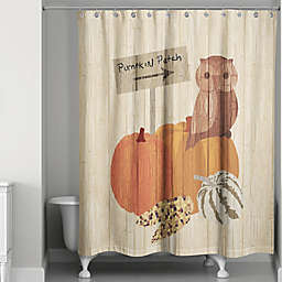 Pumpkin Patch Owl Shower Curtain in Orange/Brown