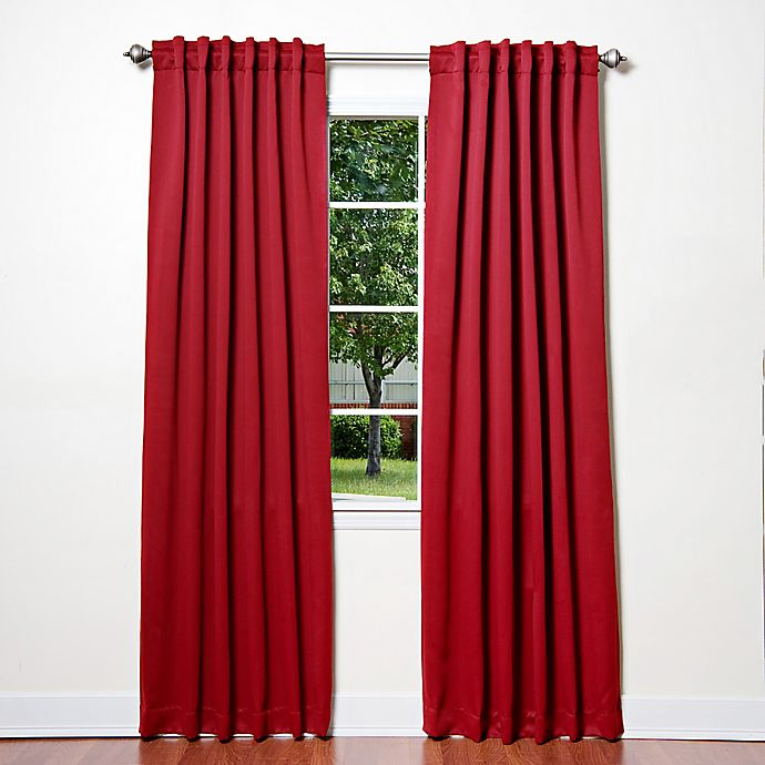Alternate image 1 for Decorinnovation Basic Solid 63-Inch Room-Darkening Back Tab Window Curtain Panel Pair in Red
