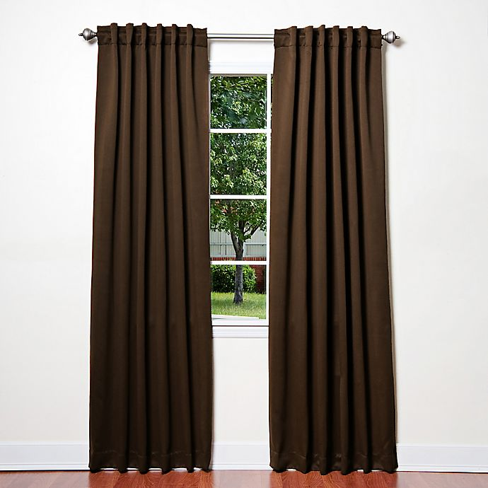 Alternate image 1 for Decorinnovation Basic Solid 63-Inch Room-Darkening Back Tab Window Curtain Panel Pair in Chocolate