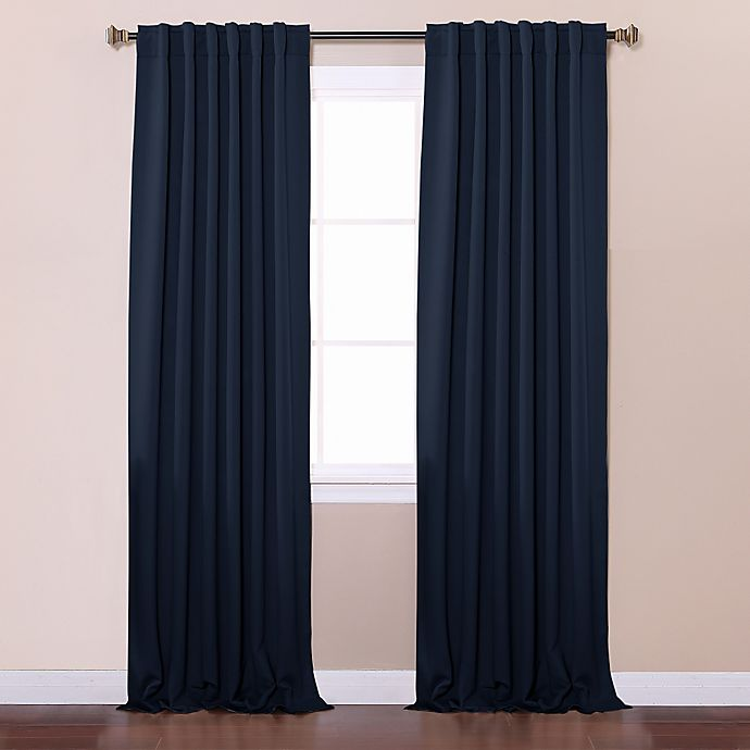 Alternate image 1 for Decorinnovation Basic Solid 63-Inch Room-Darkening Back Tab Window Curtain Panel Pair in Navy