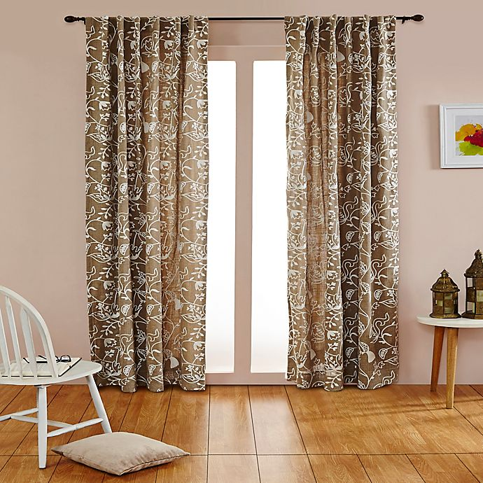 Alternate image 1 for India's Heritage Bird's Paradise 108-Inch Rod Pocket/Back Tab Window Curtain Panel in Natural/Ivory