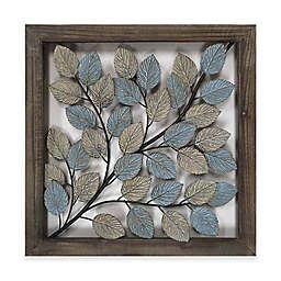 Leaves Metal Wall Art In Blue Cream