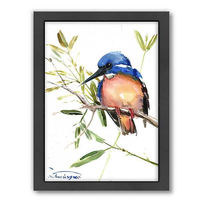 Alternate image 1 for Americanflat Azure Kingfisher Wood-Framed Wall Art