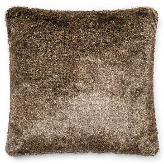 Alternate image 1 for Loloi Solid Faux Fur 22-Inch Square Throw Pillow Light Brown