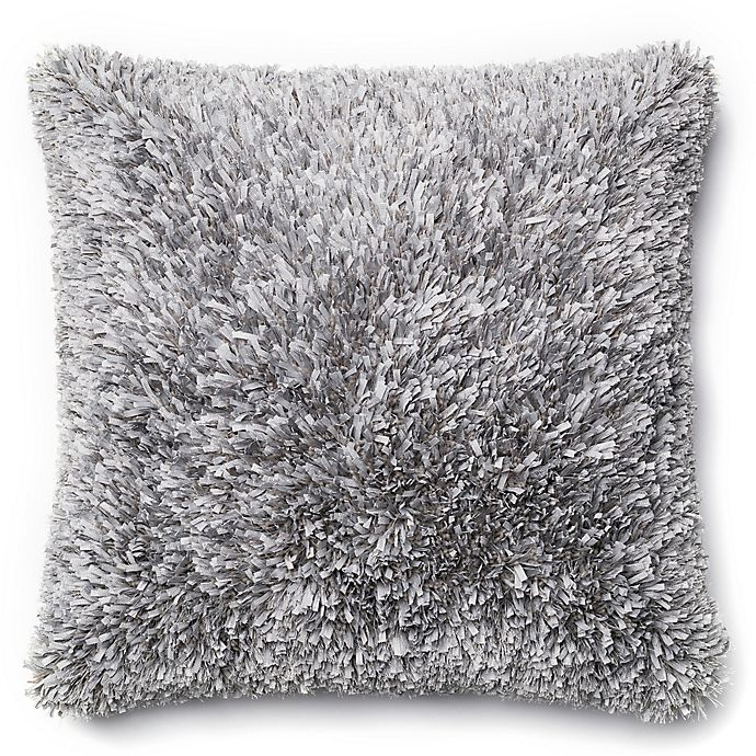 Alternate image 1 for Loloi Shaggy 22-Inch Square Throw Pillow in Grey