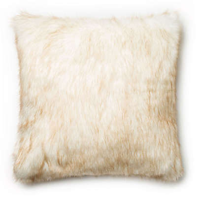 Loloi Faux High-Low Fur Square Throw Pillow in Ivory/Camel