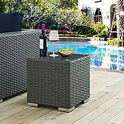 Modway Sojourn Outdoor Side Table in Chocolate
