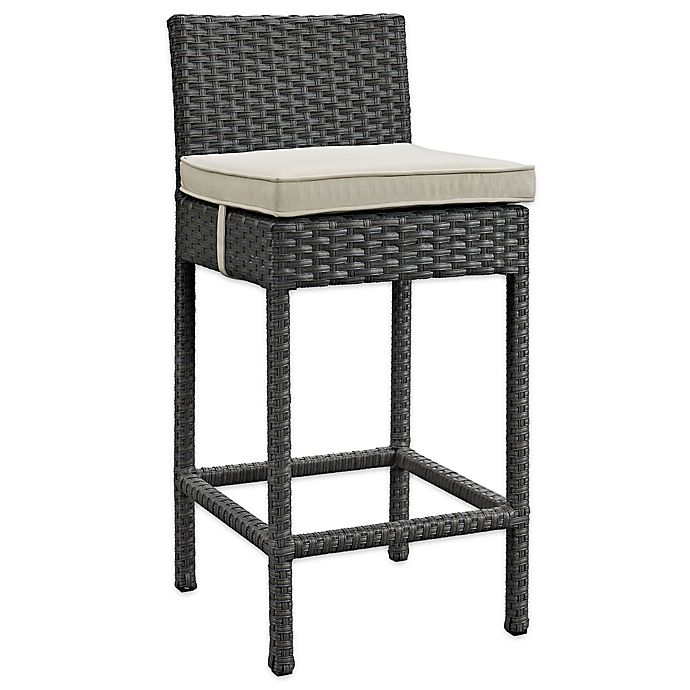 Alternate image 1 for Modway Sojourn Outdoor Wicker Bar Stool with Sunbrella® Cushion