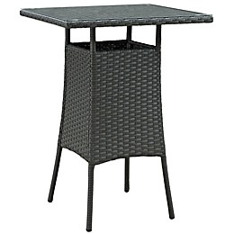Modway Sojourn Small Outdoor Bar Table in Chocolate