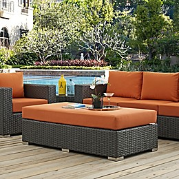 Modway Sojourn Outdoor Rectangle Ottoman in Sunbrella® Canvas
