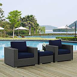 Modway Sojourn 3-Piece Outdoor Conversation Set in Sunbrella® Canvas