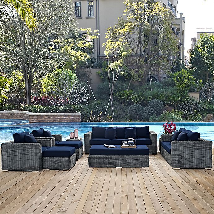 Alternate image 1 for Modway Summon 9-Piece Outdoor Wicker Sectional Set in Navy Sunbrella® Canvas