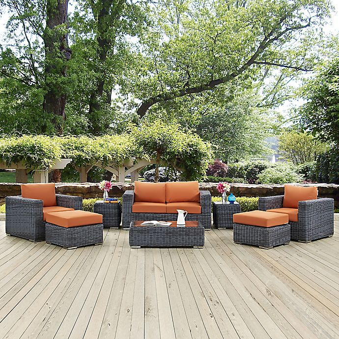 Alternate image 1 for Modway Summon 8-Piece Outdoor Wicker Sectional Set in Tuscan Sunbrella® Canvas