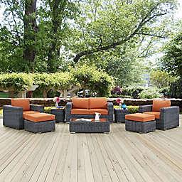 Modway Summon 8-Piece Outdoor Wicker Sectional Set in Sunbrella® Canvas