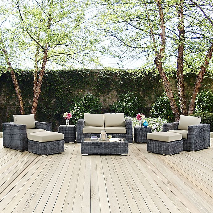 Alternate image 1 for Modway Summon 8-Piece Outdoor Wicker Sectional Set in Antique Beige Sunbrella® Canvas