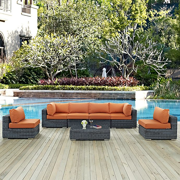 Alternate image 1 for Modway Summon 7-Piece Outdoor Wicker Sectional Set in Tuscan Sunbrella® Canvas