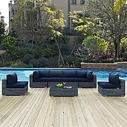 Modway Summon 7-Piece Outdoor Wicker Sectional Set in Sunbrella® Canvas