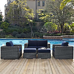 Modway Summon 5-Piece Outdoor Wicker Set with Right Arm Chaise in Sunbrella® Canvas