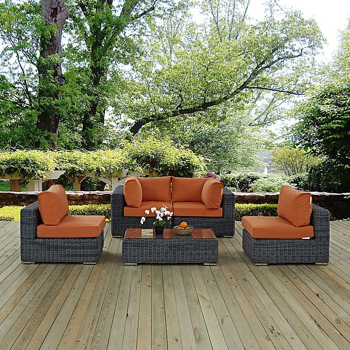 Alternate image 1 for Modway Summon 5-Piece Outdoor Wicker Sectional Set in Tuscan Sunbrella® Canvas