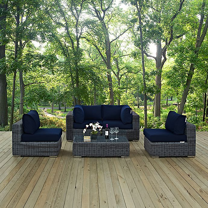Alternate image 1 for Modway Summon 5-Piece Outdoor Wicker Sectional Set in Navy Sunbrella® Canvas
