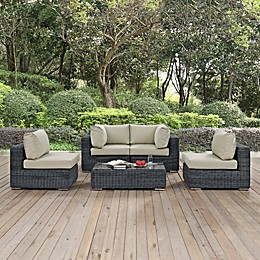 Modway Summon 5-Piece Outdoor Wicker Sectional Set in Sunbrella® Canvas