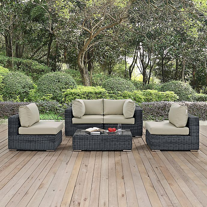 Alternate image 1 for Modway Summon 5-Piece Outdoor Wicker Sectional Set in Antique Beige Sunbrella® Canvas