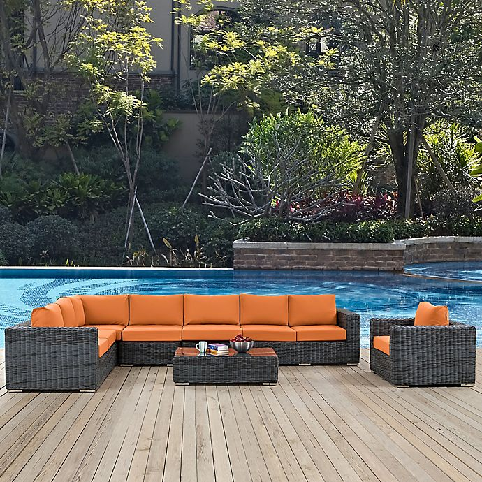 Alternate image 1 for Modway Summon 7-Piece Outdoor Wicker Set with Loveseat in Tuscan Sunbrella® Canvas