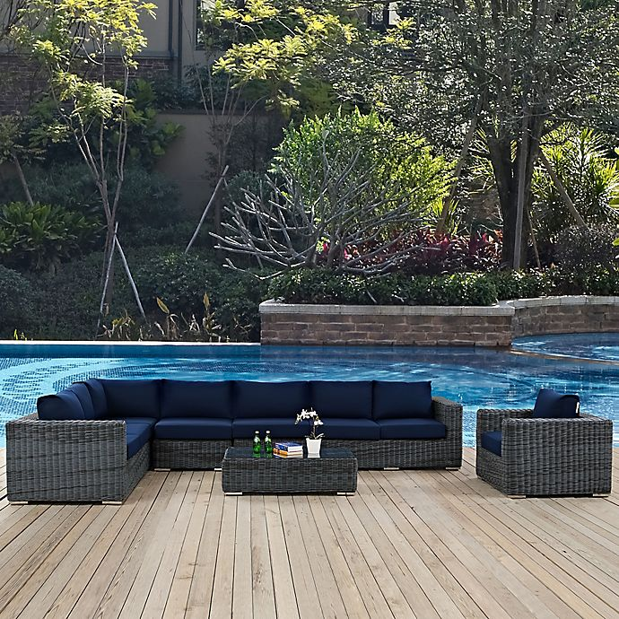 Alternate image 1 for Modway Summon 7-Piece Outdoor Wicker Set with Loveseat in Navy Sunbrella® Canvas