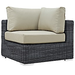 Modway Summon Outdoor Wicker Corner Chair in Sunbrella® Canvas