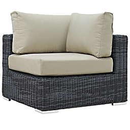 Modway Summon Outdoor Wicker Corner Chair in Antique Beige Sunbrella® Canvas
