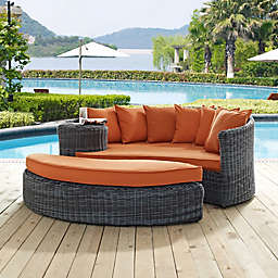 Modway Summon 2-Piece Outdoor Wicker Daybed in Sunbrella® Canvas
