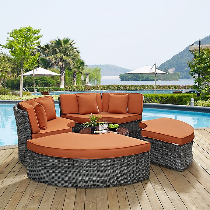 Alternate image 1 for Modway Summon 5-Piece Outdoor Wicker Circular Daybed in Tuscan Sunbrella® Canvas