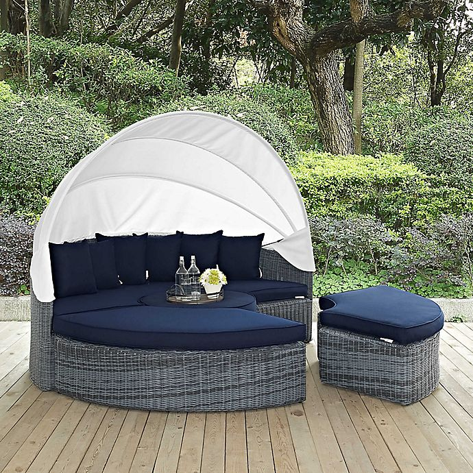 Alternate image 1 for Modway Summon Outdoor Canopy Daybed in Navy Sunbrella® Canvas