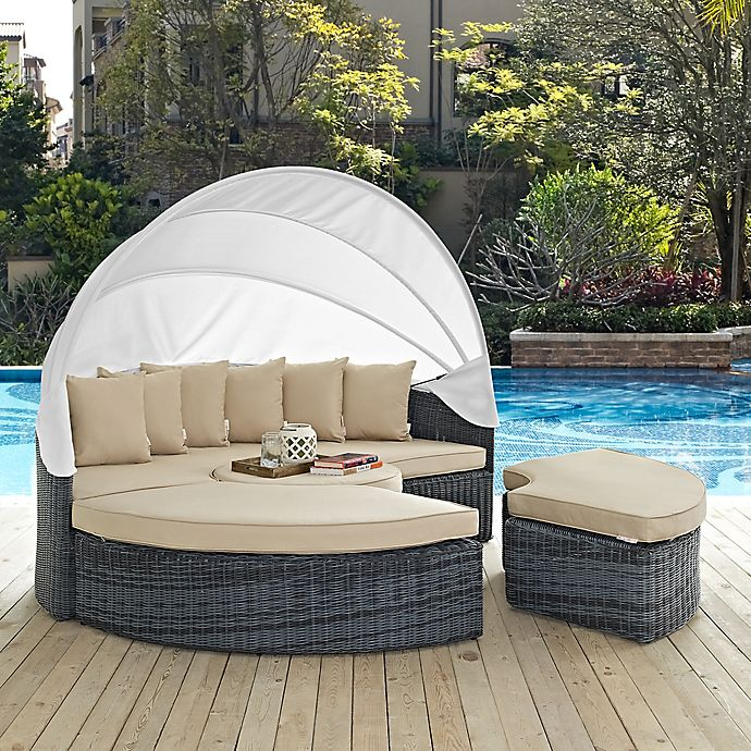 Alternate image 1 for Modway Summon Outdoor Canopy Daybed in Antique Beige Sunbrella® Canvas