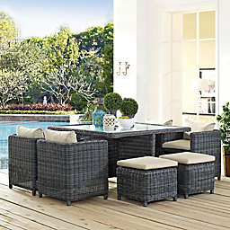 Modway Summon 9-Piece Outdoor Wicker Dining Set in Sunbrella® Canvas