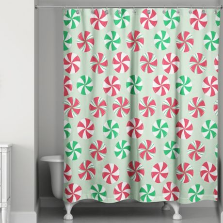 Peppermint Candy Shower Curtain In Green Red