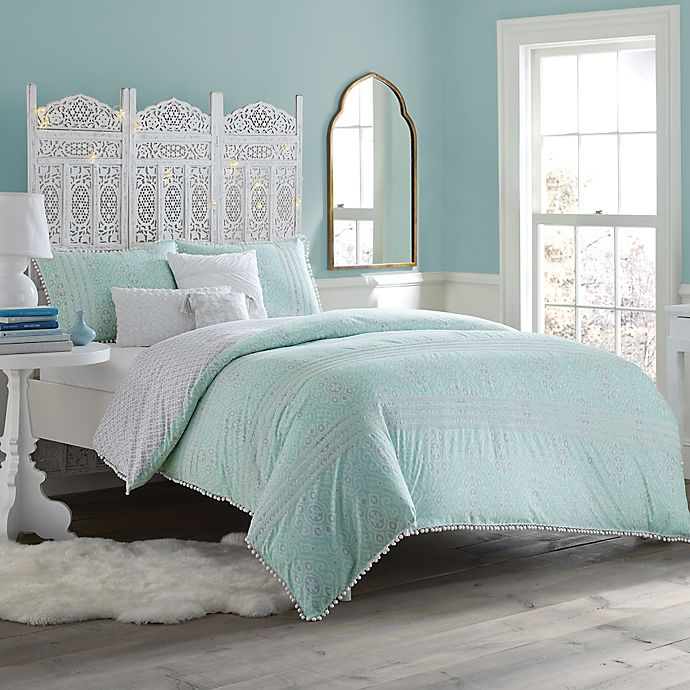 Anthology™ Moroccan Party Comforter Set in Mint Green/White   Bed