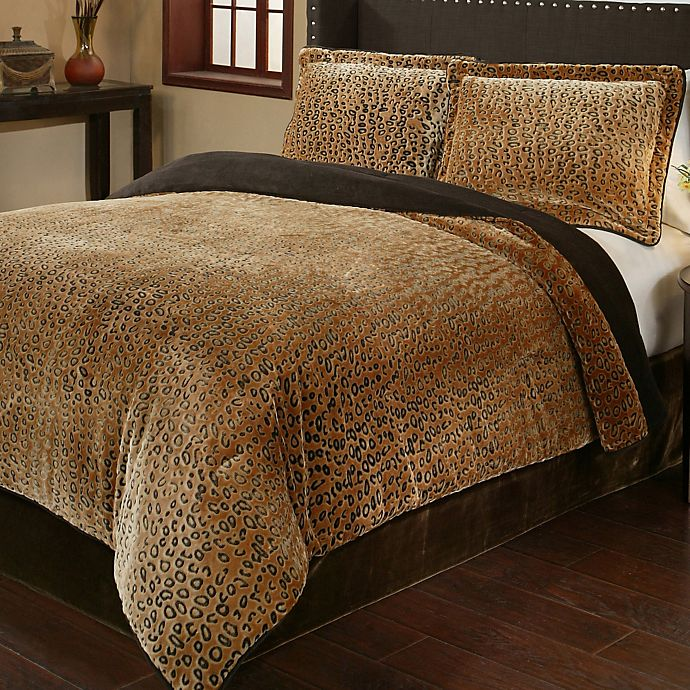 Cheetah 3 Piece Plush Comforter Set Bed Bath Amp Beyond
