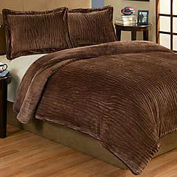 Lodge 3-Piece Plush Comforter Set in Brown