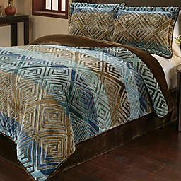 Savoy 3-Piece Reversible Plush Comforter Set in Gold