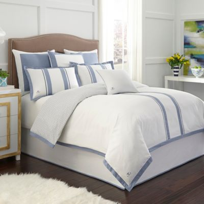 Jill Rosenwald London Reversible Duvet Cover In White Blue Bed Bath Beyond