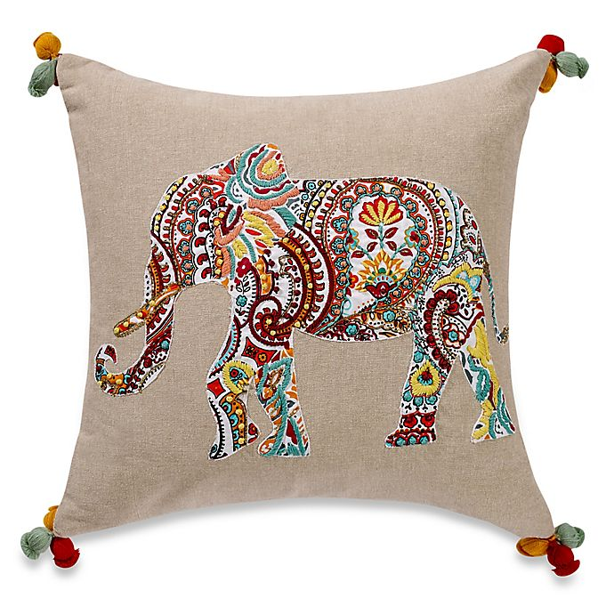 Alternate image 1 for Anthology™ Jodhpur Elephant Embroidered Square Throw Pillow