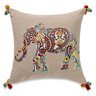 Anthology™ Jodhpur Elephant Embroidered Square Throw Pillow