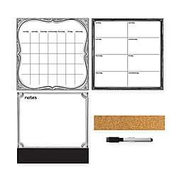 WallPops!® Dry-Erase 3-Piece Calendar/Weekly Planner/Message Board Set in White/Grey/Black