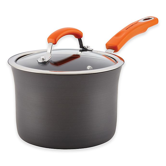 Alternate image 1 for Rachael Ray™ Hard-Anodized Nonstick 3 qt. Covered Saucepan in Grey/Orange