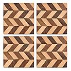 Set of 4 Thirstystone Mango Wood Chevron Coasters