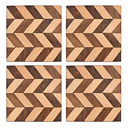 Set of 4 Thirstystone Mango Wood Chevron Coasters